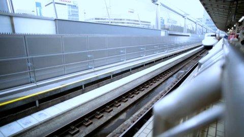 TGV High speed bullet train Kyoto express arriving Torokko Arashima Railroad Station tourist travel destination Japan South east Asia