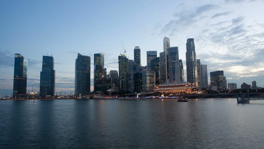 Timelapse of Singapore Skyline night and dusk