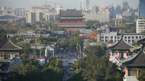 Panoramic of China ancient tower architecture & urban high rise building.Beijing city traffic,DiAnMen. gh2_03844