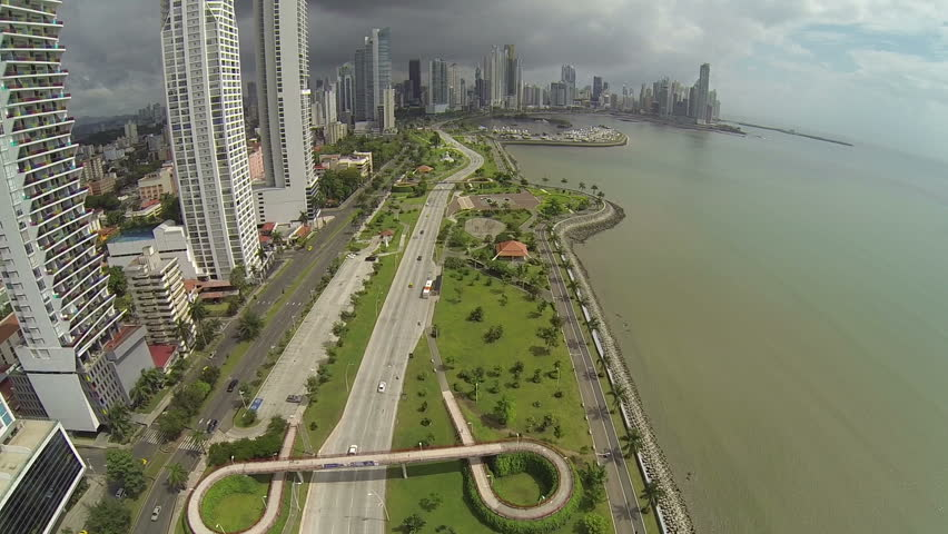 Aerial view of morning traffic on Balboa avenue in Panama City skyscrapers skyline.