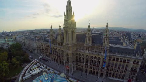 Beautiful Vienna architecture Rathaus at dusk aerial shot, mayor