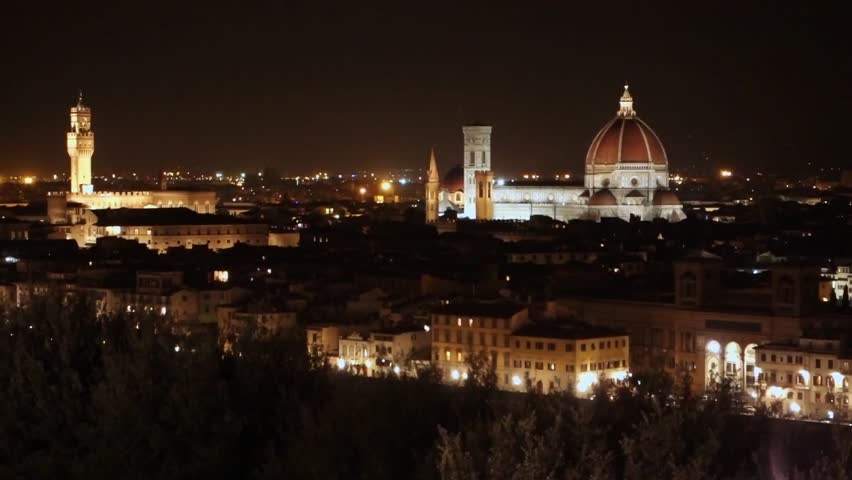 Florence. A night view over the city from the hill overlooking Florence, showing the Cathedral.