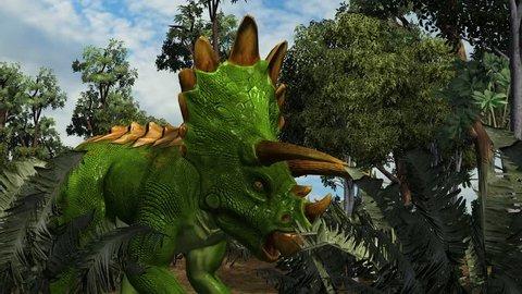 Triceratops in a prehistoric scene - dolly shot