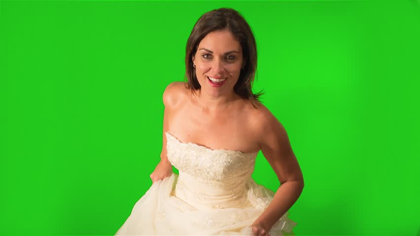 Hy Bride Running Towards The Camera Shot On Green Screen Stock Footage Video 7928794 Shutterstock