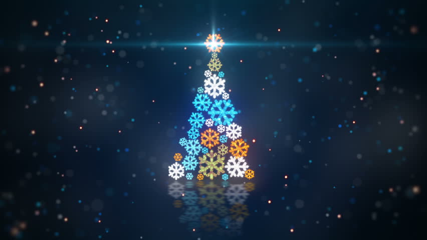 Blue orange christmas tree shape of glowing snowflakes. computer generated seamless loop abstract motion background  | Shutterstock HD Video #7960375
