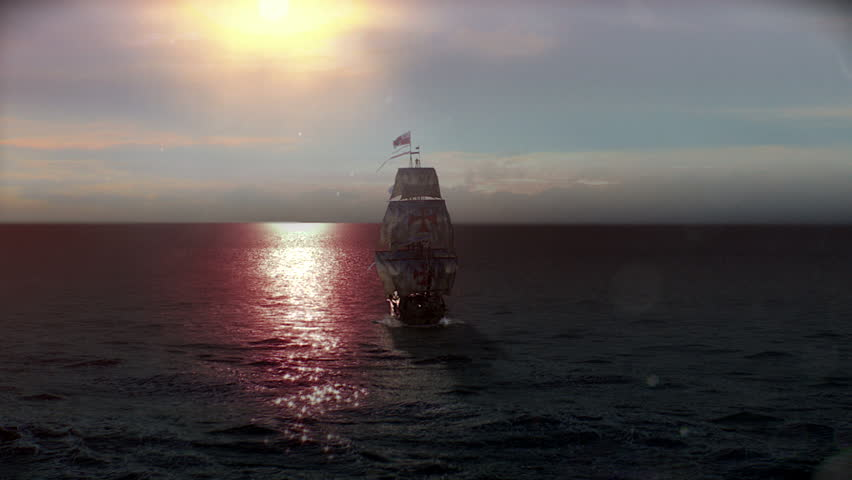 Spain Galleon or Ship in Sunset offshore