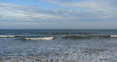 4k wide ocean surface,waves washed sand,ocean sea water & surge. gh2_08528_4k