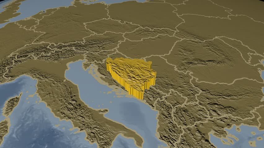 BOSNIA AND HERZEGOVINA Extruded On The World Map Rivers And Lakes