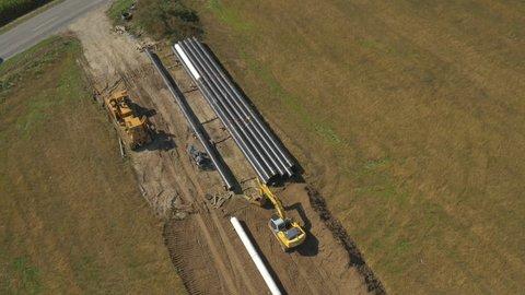 AERIAL: Big pipeline construction