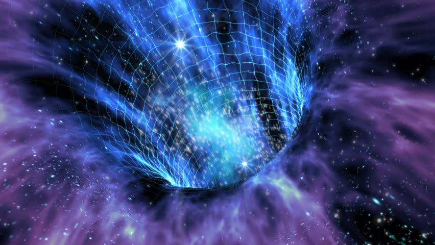 Loop animation with wormhole interstellar travel through a blue force field on a grid with galaxies and stars, for space-time continuum backgrounds