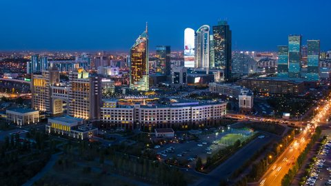 ASTANA - CIRCA SEPTEMBER 2014: Central Asia, Kazakhstan, Astana, elevated night view over the city center and central business district- Time lapse