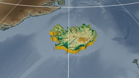 Iceland extruded on the world map with graticule. Rivers and lakes shapes added. Colored elevation and bathymetry data used. Elements of this image furnished by NASA.