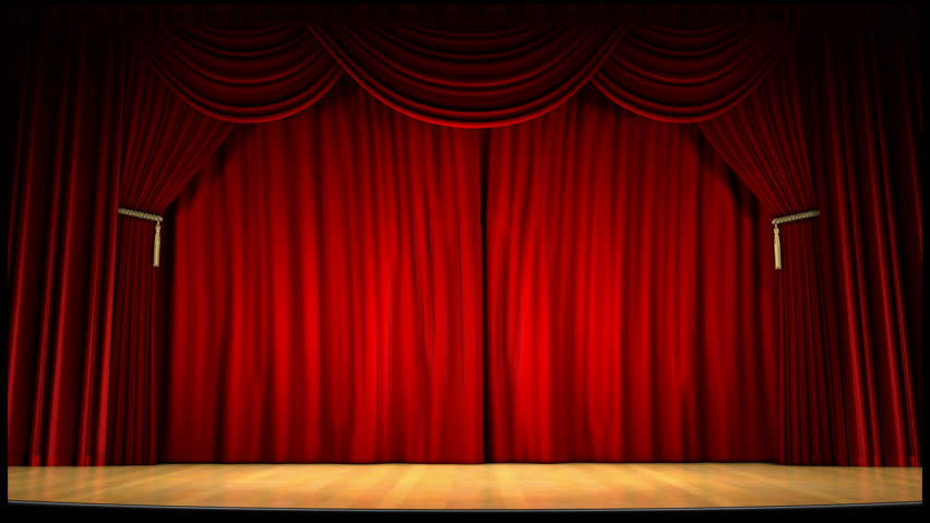 A 1080p video of a theater curtain uncovering the theater(16:9)