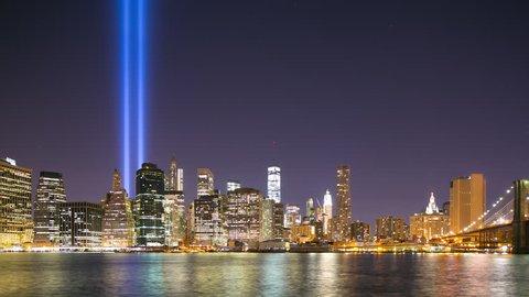 night light manhattan panorama september 11 4k time lapse from new york