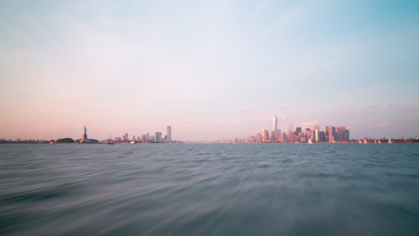 sunset ferry ride from manhattan to staten island 4k time lapse nyc