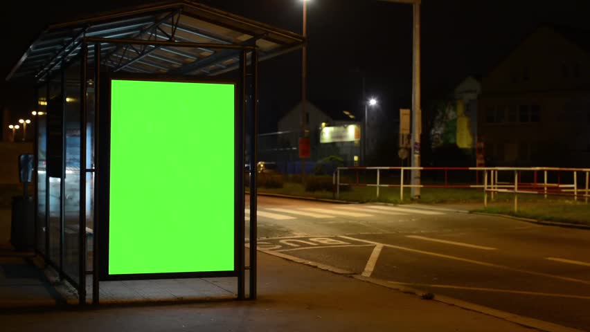 Bus stop - billboard - green screen - night - urban street with cars