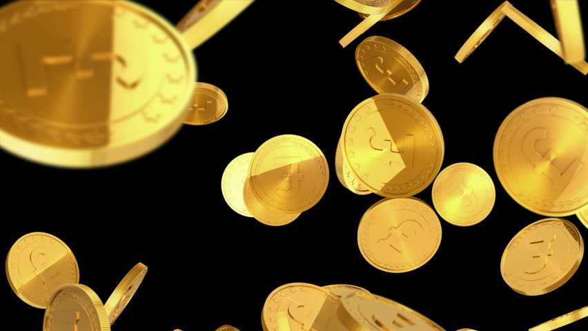 de795dc03a7 Gold coins falling on black background. Beautiful Looped animation. 4K.  Alpha mask.
