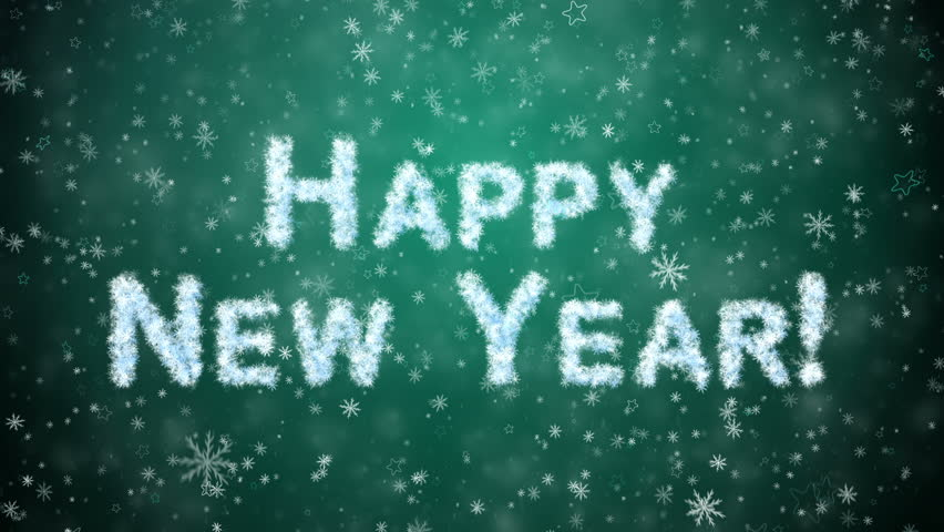 inscription happy new year from snowflakes snow and stars