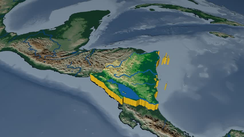 Nicaragua extruded on the world map. Rivers and lakes shapes added. Colored elevation and bathymetry data used. Elements of this image furnished by NASA.