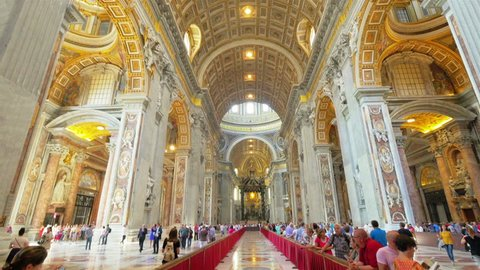 ROME - September 7, 2014: Interior of St. Peter's Basilica, Vatican, Italy.