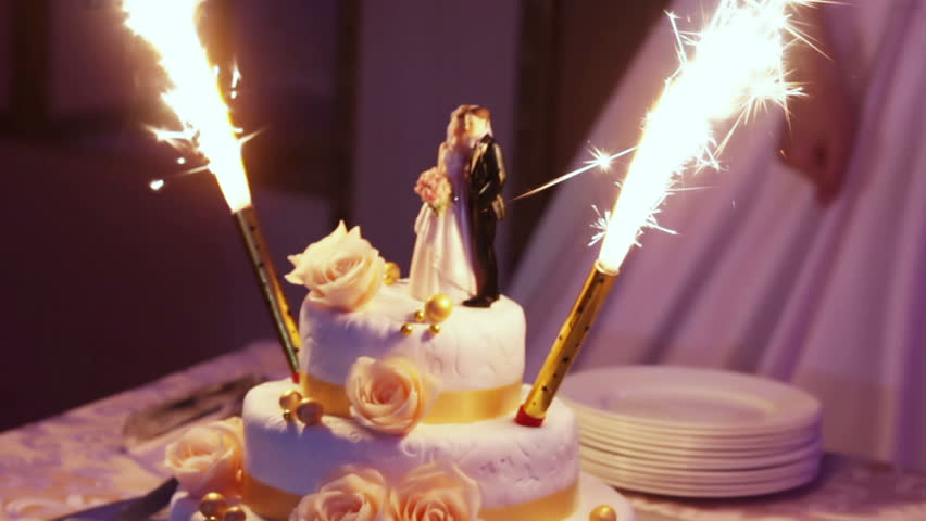Wedding Cake With Burning Fireworks Stock Footage Video 8246974