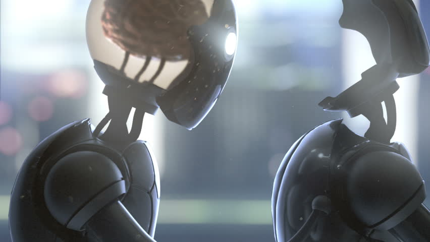 Robot giving away his brain to a newly constructed clone. Loop. Bright version.