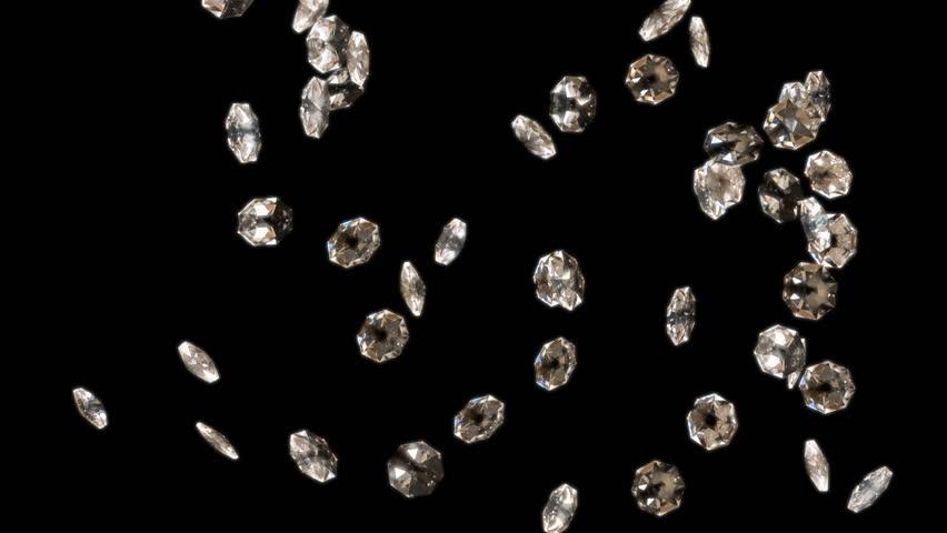 Slowly falling shiny diamonds with matte | Shutterstock HD Video #8259718