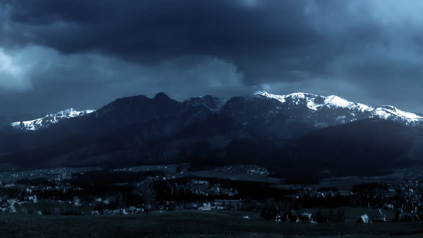 Storm and lightning. Thunderstorm in the Tatra Mountains. Dramatic sky.