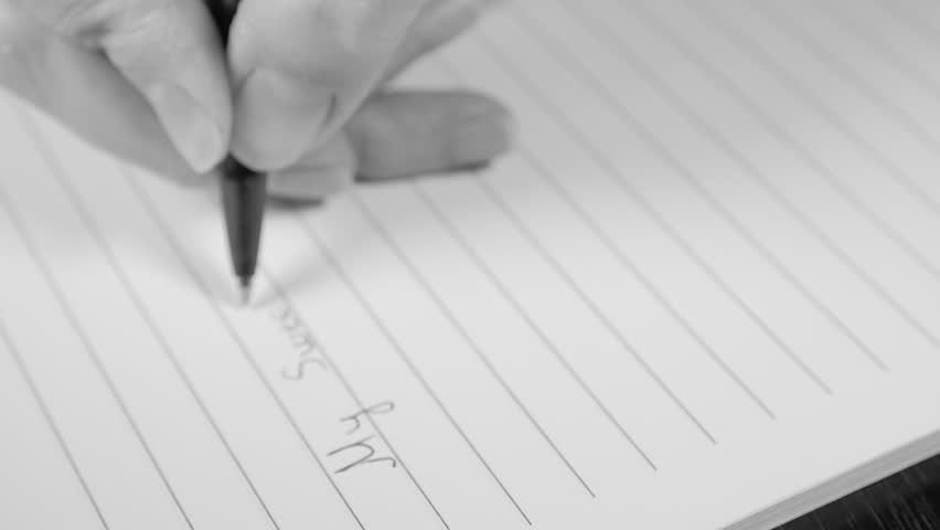 Romantic Letter Writing Slow Motion Black And White 1080p HD