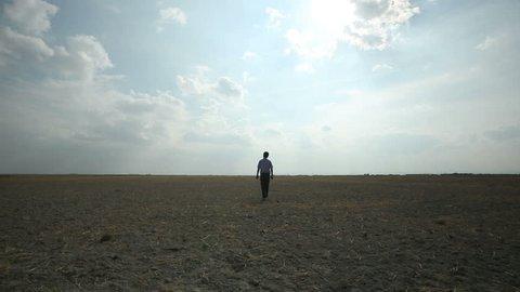 Man walking to nowhere, lost man