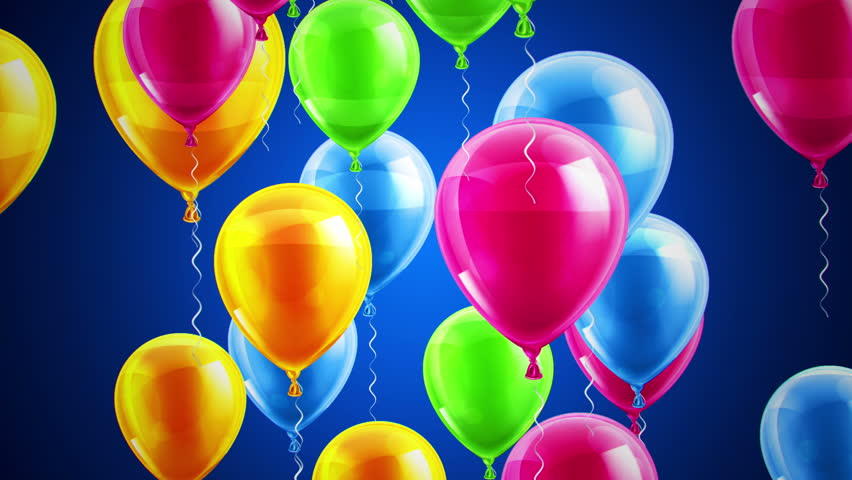Beautiful Background With Colorful Balloons Fly Up And Rotate Blue Loop Animation