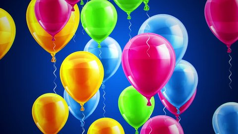 Beautiful background with Colorful balloons fly up and rotate. Blue background. Loop animation. 4K. Other versions in my profile.