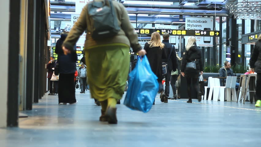 Malmo,Sweden December 18 2014 :Obese woman walking Underground metro modern Station  commuter people traveling through  Station Passengers with luggage   1920x1080 full hd footage