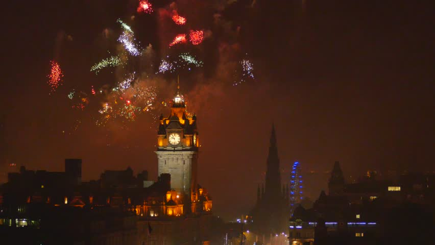 4K Fireworks during the last day of Summer Festival in Edinburgh – view from Calton Hill, Scotland, United Kingdom