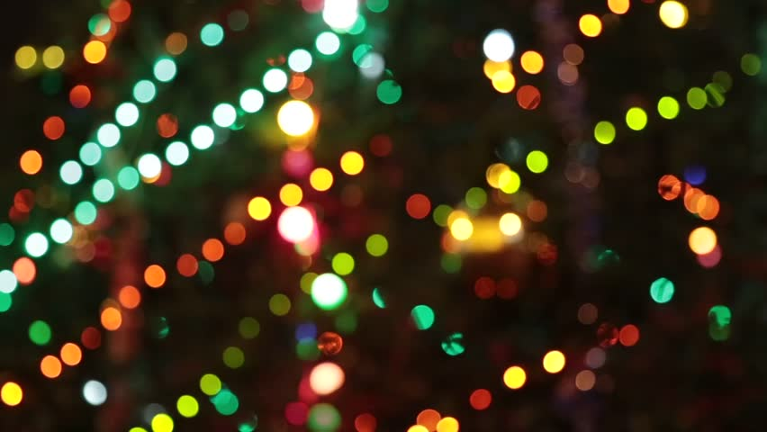 christmas and new year decoration abstract blurred bokeh blinking garland holiday background christmas tree - Christmas Lights Video