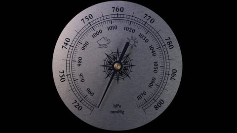 Movement arrow of the barometer. Changing weather