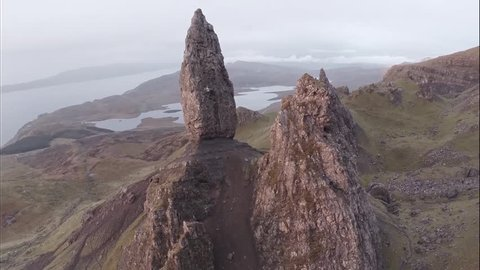 Aerial shot of the beautiful landscape around the Old man of Storr on the Isle of Skye (Scotland)