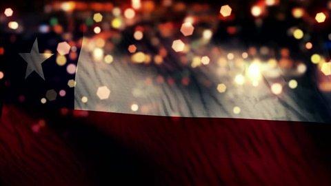 Chile Flag Light Night Bokeh Abstract Loop Animation - 4K Resolution UHD
