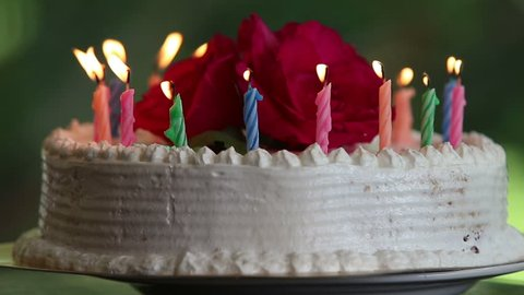 Cake With Burning Candles And Flower Stands On The Table Green Background