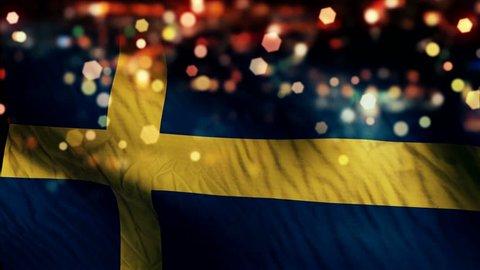 Sweden Flag Light Night Bokeh Abstract Loop Animation 4K Resolution UHD Ultra HD