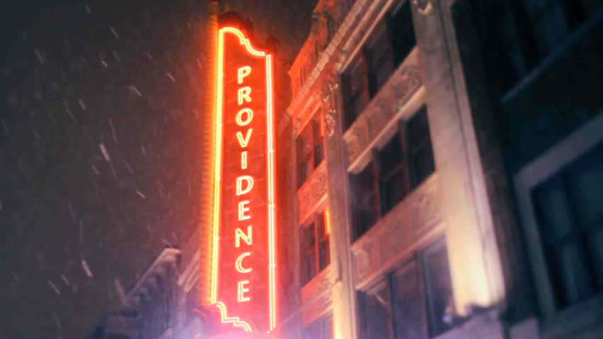 Providence, Rhode Island downtown city street sign on snowy night #8431120