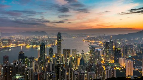 Hong Kong, China - December 21st, 2014: Time-lapse of early morning in central Hong Kong.