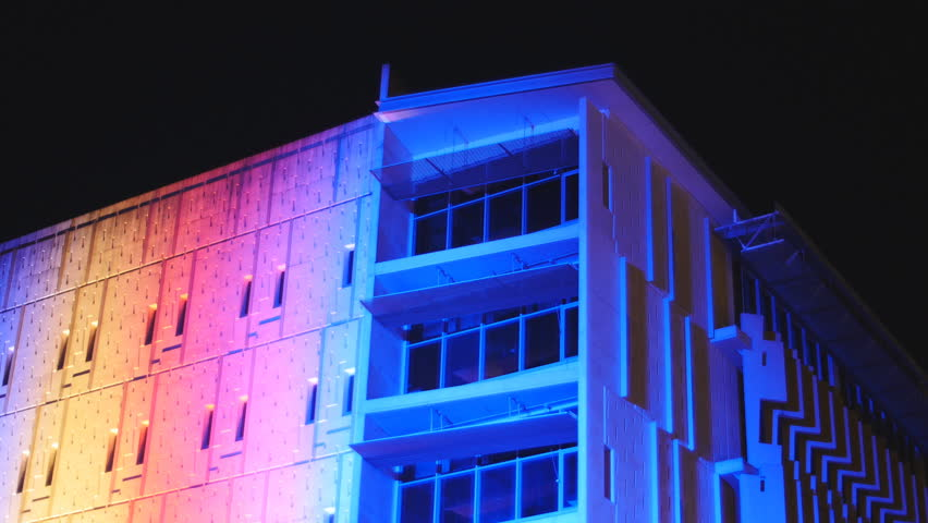 Light Show On Brisbane Building Stock Footage Video 100 Royalty