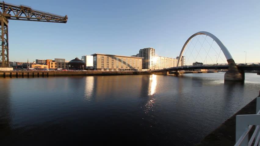 Glasgow, Scotland - December 2: Glasgow waterfront between Clyde Arc and Bells Bridge Glasgow Scotland 2nd December 2014