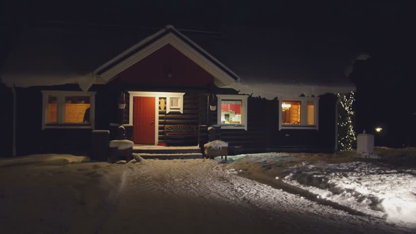 POV Cozy Wooden House In Winter Forest At Night Finland Stock - Cozy wooden house