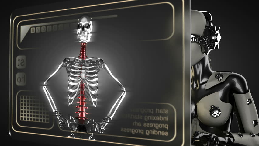 human skeleton radiography scan on hologram stock footage video, Skeleton