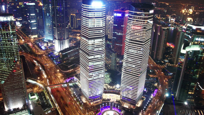 aerial view of Shanghai at night. time lapse #8509954