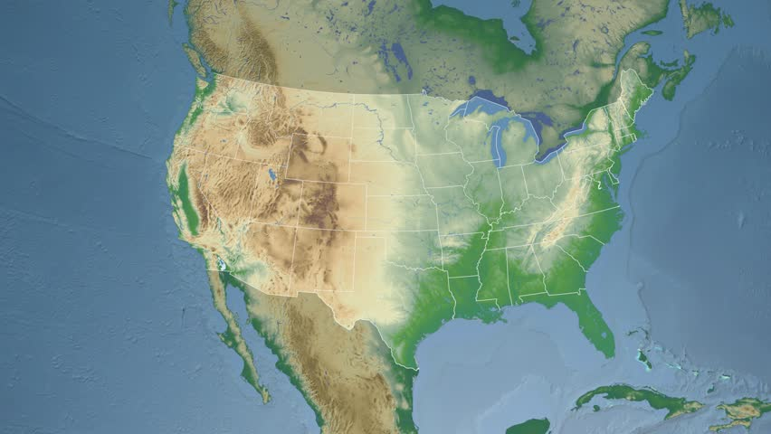 USA Wyoming State Cheyenne Extruded On The Physical Map Of North