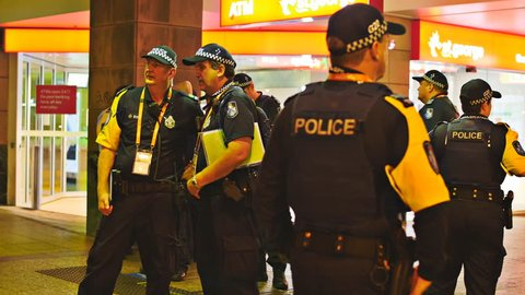 Group G20 police prepare for trouble. Police road block at the G20, night time. The 12th -16th of November 2014 saw Brisbane playing host to the G20 Summit. Brisbane, Australia. Nov 2014