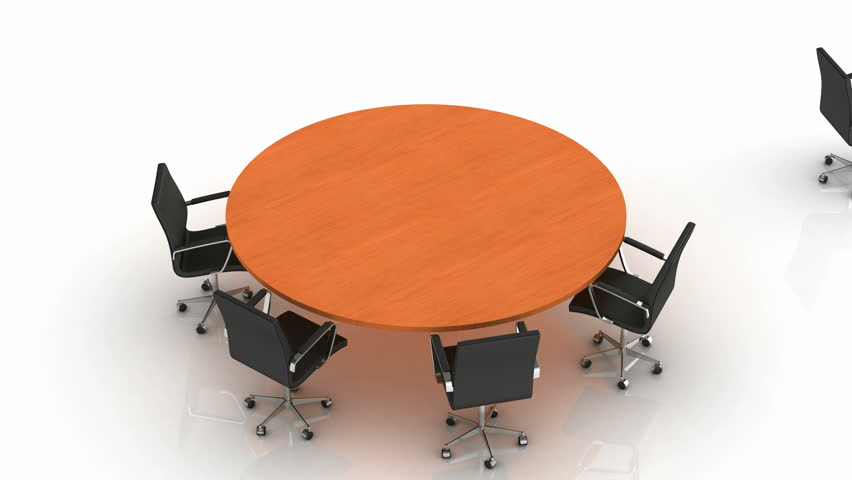 Round Table. White background, created in 4K, 3d animation | Shutterstock HD Video #8522434
